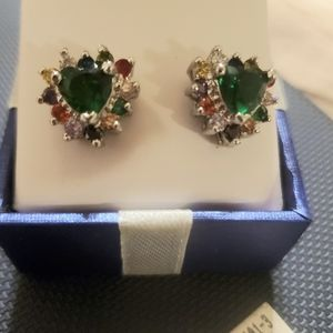 Silver stud earrings Emerald  stone multicolor cz
